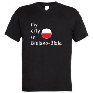 Męska koszulka V-neck My city is Bielsko-Biala - PrintSalon