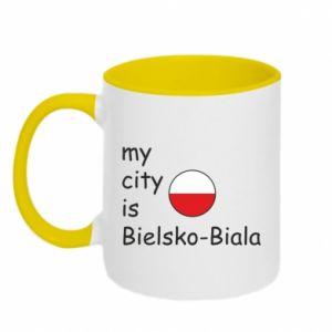 Kubek dwukolorowy My city is Bielsko-Biala - PrintSalon