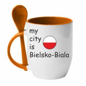 Kubek z ceramiczną łyżeczką My city is Bielsko-Biala - PrintSalon