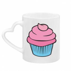 Mug with heart shaped handle Big cupcake