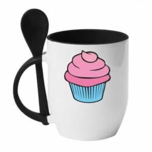 Mug with ceramic spoon Big cupcake