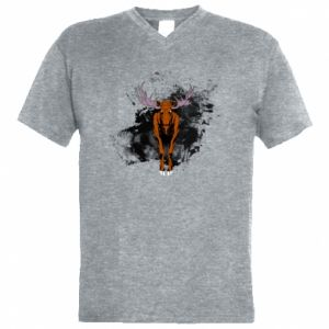Men's V-neck t-shirt Big elk - PrintSalon