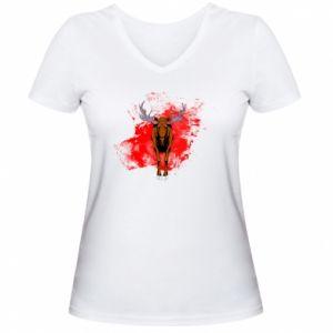 Women's V-neck t-shirt Big elk - PrintSalon