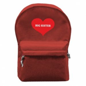 Plecak z przednią kieszenią Big sister, napis w sercu