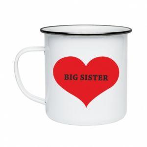 Kubek emaliowany Big sister, napis w sercu