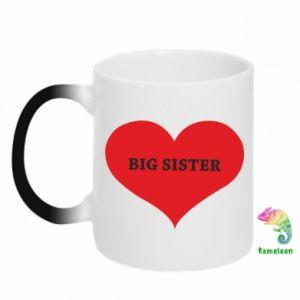 Chameleon mugs Big sister, inscription in the heart