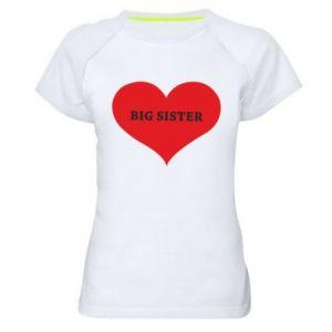 Koszulka sportowa damska Big sister, napis w sercu