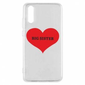 Etui na Huawei P20 Big sister, napis w sercu