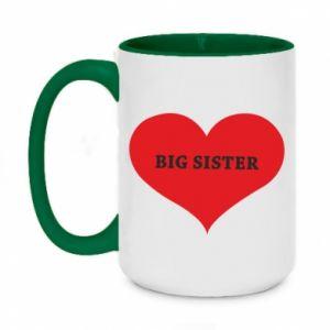 Kubek dwukolorowy 450ml Big sister, napis w sercu