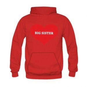 Bluza z kapturem dziecięca Big sister, napis w sercu