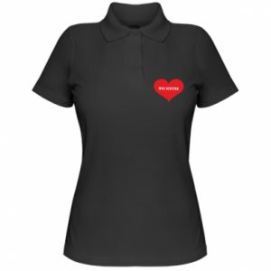 Koszulka polo damska Big sister, napis w sercu