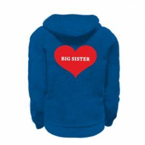 Bluza na zamek dziecięca Big sister, napis w sercu