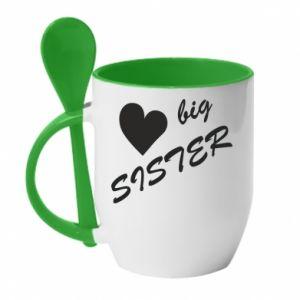 Kubek z ceramiczną łyżeczką Big sister - PrintSalon