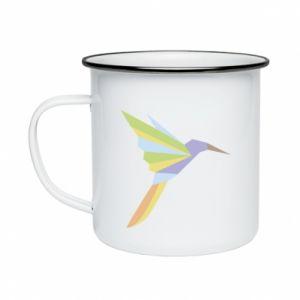 Enameled mug Bird flying abstraction - PrintSalon