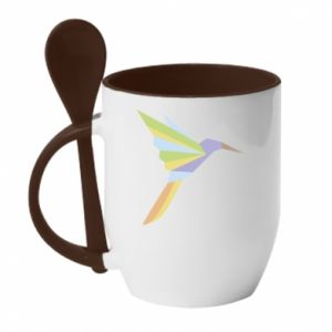 Mug with ceramic spoon Bird flying abstraction - PrintSalon