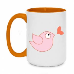 Kubek dwukolorowy 450ml Bird is catching up with the heart