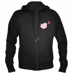 Men's zip up hoodie Bird is catching up with the heart - PrintSalon