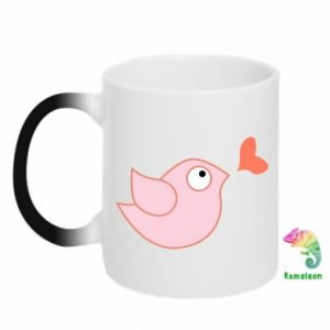 Chameleon mugs Bird is catching up with the heart - PrintSalon
