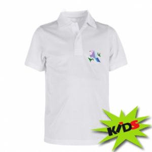 Children's Polo shirts Bird on a branch abstraction - PrintSalon
