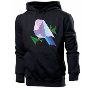 Men's hoodie Bird on a branch abstraction