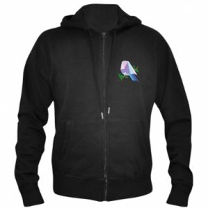 Men's zip up hoodie Bird on a branch abstraction