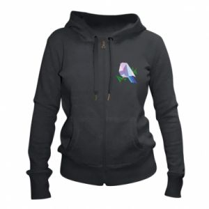 Women's zip up hoodies Bird on a branch abstraction