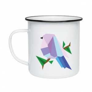 Enameled mug Bird on a branch abstraction