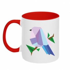 Two-toned mug Bird on a branch abstraction