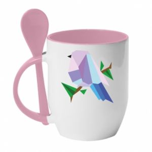 Mug with ceramic spoon Bird on a branch abstraction