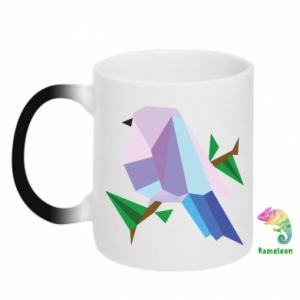 Chameleon mugs Bird on a branch abstraction