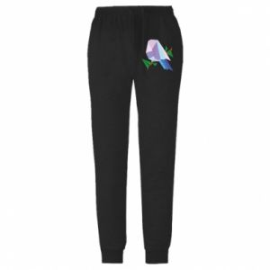 Spodnie lekkie męskie Bird on a branch abstraction