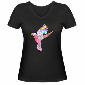 Women's V-neck t-shirt Bird with curls - PrintSalon