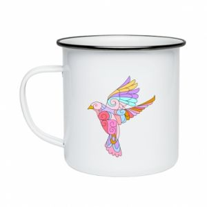 Enameled mug Bird with curls - PrintSalon