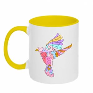 Two-toned mug Bird with curls - PrintSalon