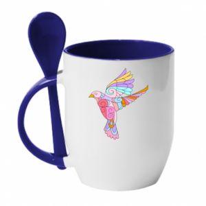 Mug with ceramic spoon Bird with curls - PrintSalon