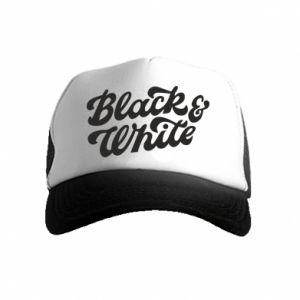 Czapka trucker dziecięca Black and white