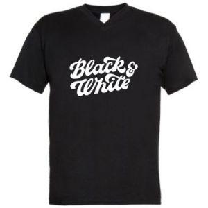 Męska koszulka V-neck Black and white