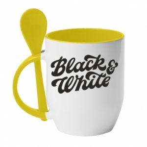 Kubek z ceramiczną łyżeczką Black and white