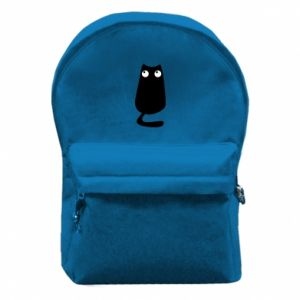 Backpack with front pocket Black cat with big eyes is sitting