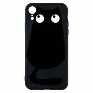 Etui na iPhone XR Black cat with big eyes is sitting