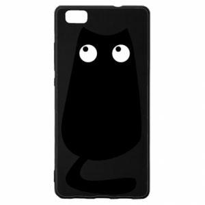 Etui na Huawei P 8 Lite Black cat with big eyes is sitting