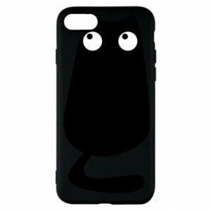 Etui na iPhone SE 2020 Black cat with big eyes is sitting