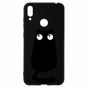 Etui na Huawei Y7 2019 Black cat with big eyes is sitting