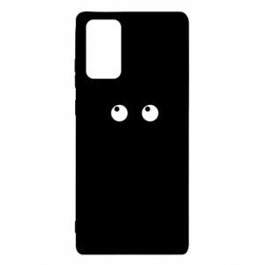 Etui na Samsung Note 20 Black cat with big eyes is sitting