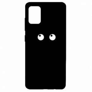 Etui na Samsung A51 Black cat with big eyes is sitting