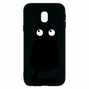 Etui na Samsung J3 2017 Black cat with big eyes is sitting