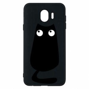 Etui na Samsung J4 Black cat with big eyes is sitting