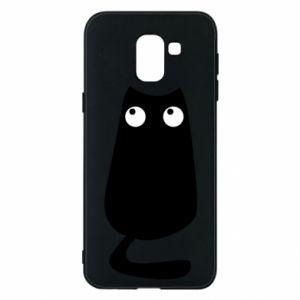 Etui na Samsung J6 Black cat with big eyes is sitting