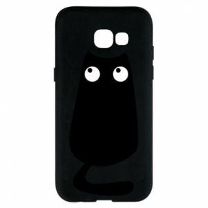 Etui na Samsung A5 2017 Black cat with big eyes is sitting