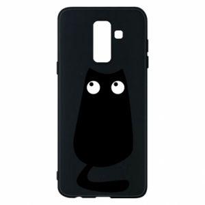 Etui na Samsung A6+ 2018 Black cat with big eyes is sitting